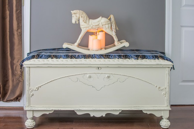 Painted vintage cedar chest makeover featured at Knick of Time's Talk of the Town Link Party