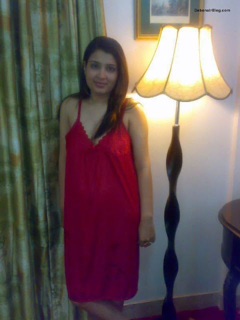 Indian Married Women With Red Night Dress Home Made -7567
