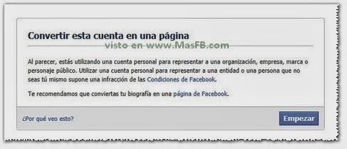 Convertir Cuenta Pagina Facebook