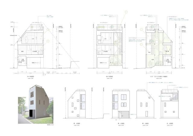 「たてにわ」が息吹を吹き込む木造三階建・狭小都市型住宅 断面・立面計画
