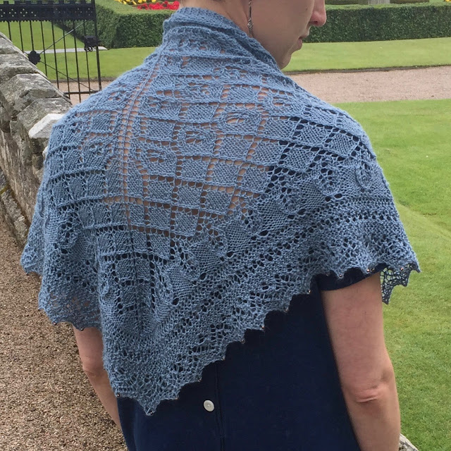 Cornish bue knitted shawl