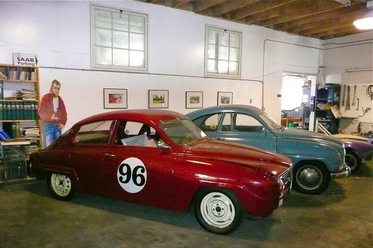 Scenes in a classic Saab shop,