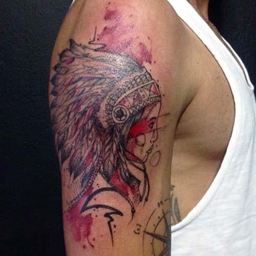 erkek omuz kızılderili kız dövmesi man shoulder native american girl tattoo