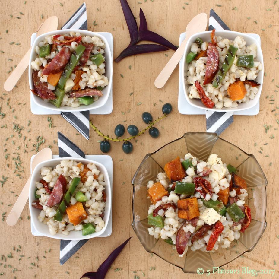 Seared Chorizo, Roasted Butternut, Feta & Samp Bowls, Overhead View