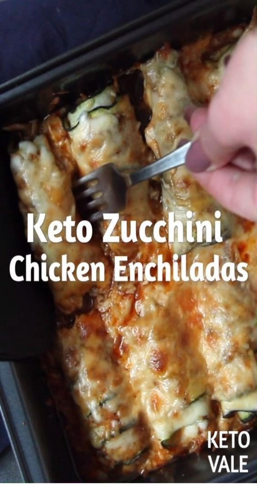 Keto Zucchini Chicken Enchiladas