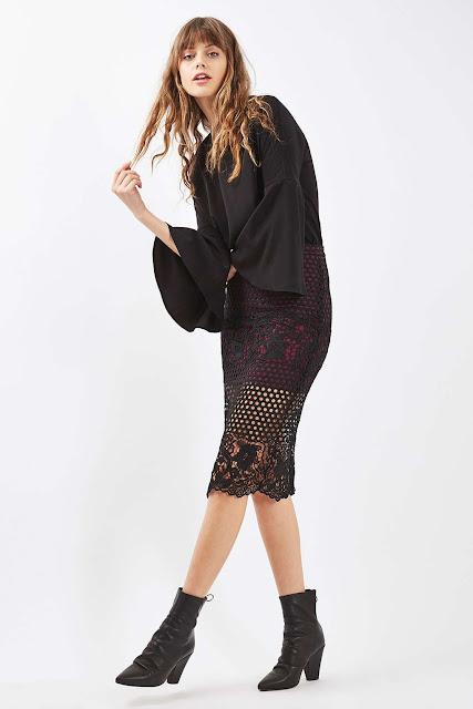 red black overlay skirt, black lace skirt,