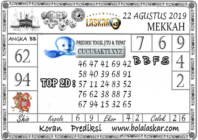 Prediksi Togel MEKKAH LASKAR4D 22 AGUSTUS 2019