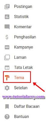 pilih menu Template/Tema