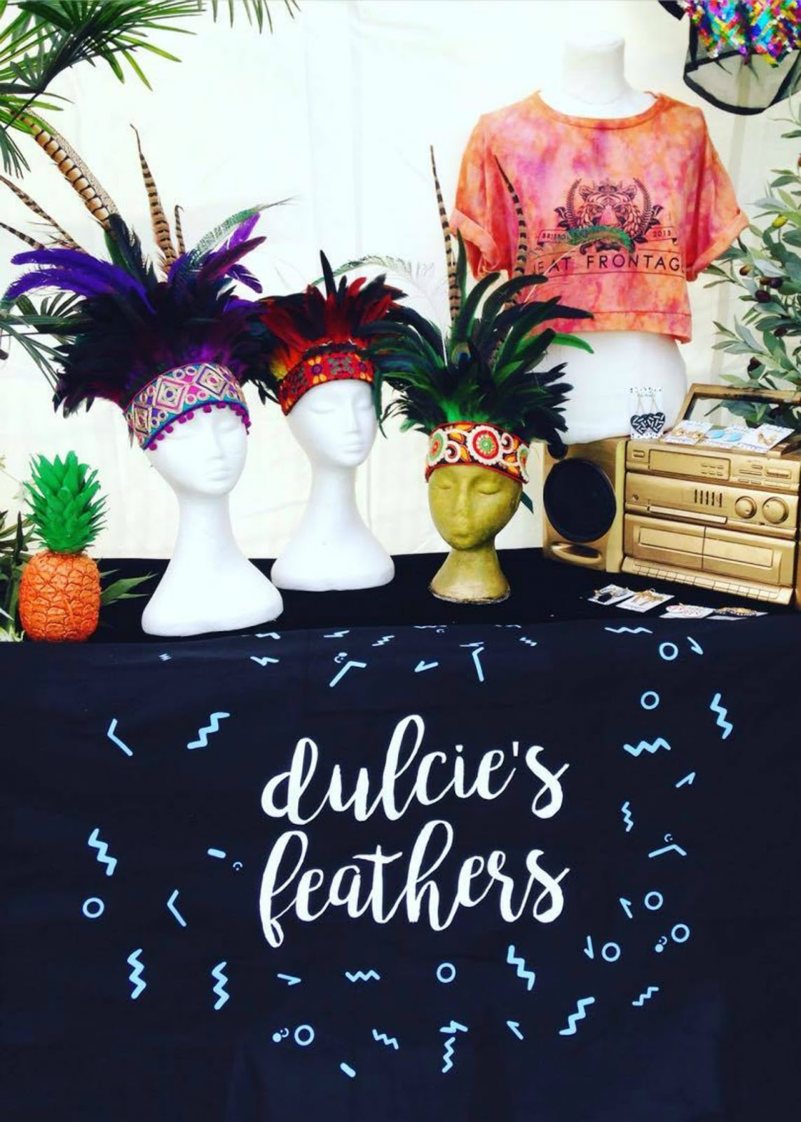Love Saves the Day, Dulcie's Feathers, feather headdresses, Bristol, stall