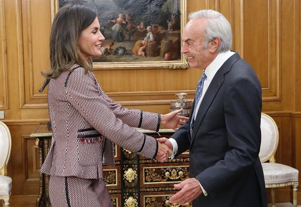 Queen Letizia wore Hugo Boss Keili Jacket and Meili Skirt and Letizia wore Steve Madden suede pumps at Zarzuela Palace in Madrid
