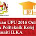 Rayuan UPU 2016 Online IPTA Politeknik Kolej Komuniti ILKA