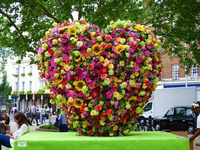 Floral heart in Duke of York Square, London, for Chelsea in Bloom 2018 free flower festival