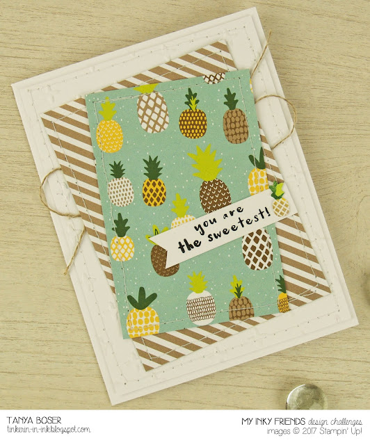 My submission for the first My Inky Friends design challenge! Fruit Basket with Tutti Frutti DSP from Stampin' Up! pulled this card together in no time at all. ~Tanya Boser for My Inky Friends