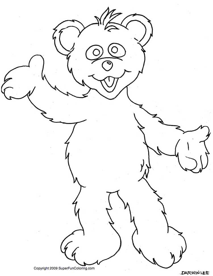 Cartoon standing bear coloring pages ~ Cartoon Bear Coloring Pages - Cartoon Coloring Pages