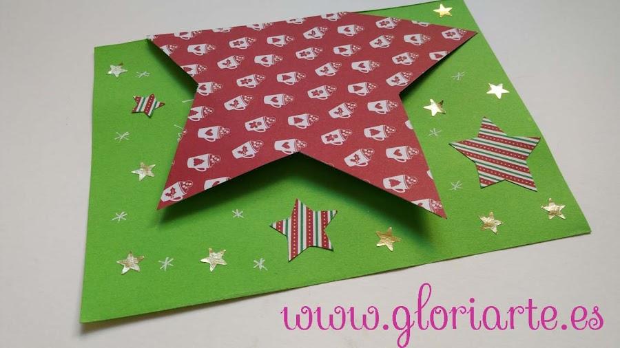 Tarjeta con estrellas para felicitar la navidad
