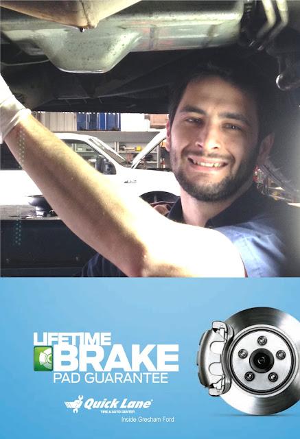 Brake Pad Guarantee at the Quicklane inside Gresham Ford