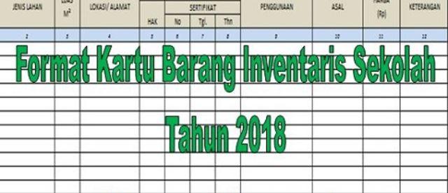 Format Kartu Barang Inventaris Sekolah Tahun 2018