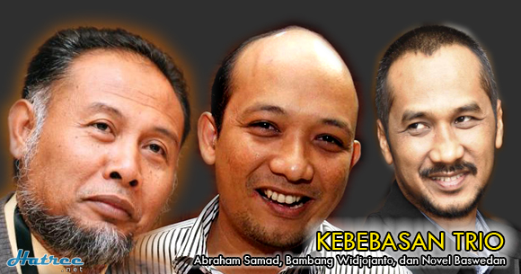 Kebebasan Abraham Samad, Bambang Widjojanto, dan Novel Baswedan