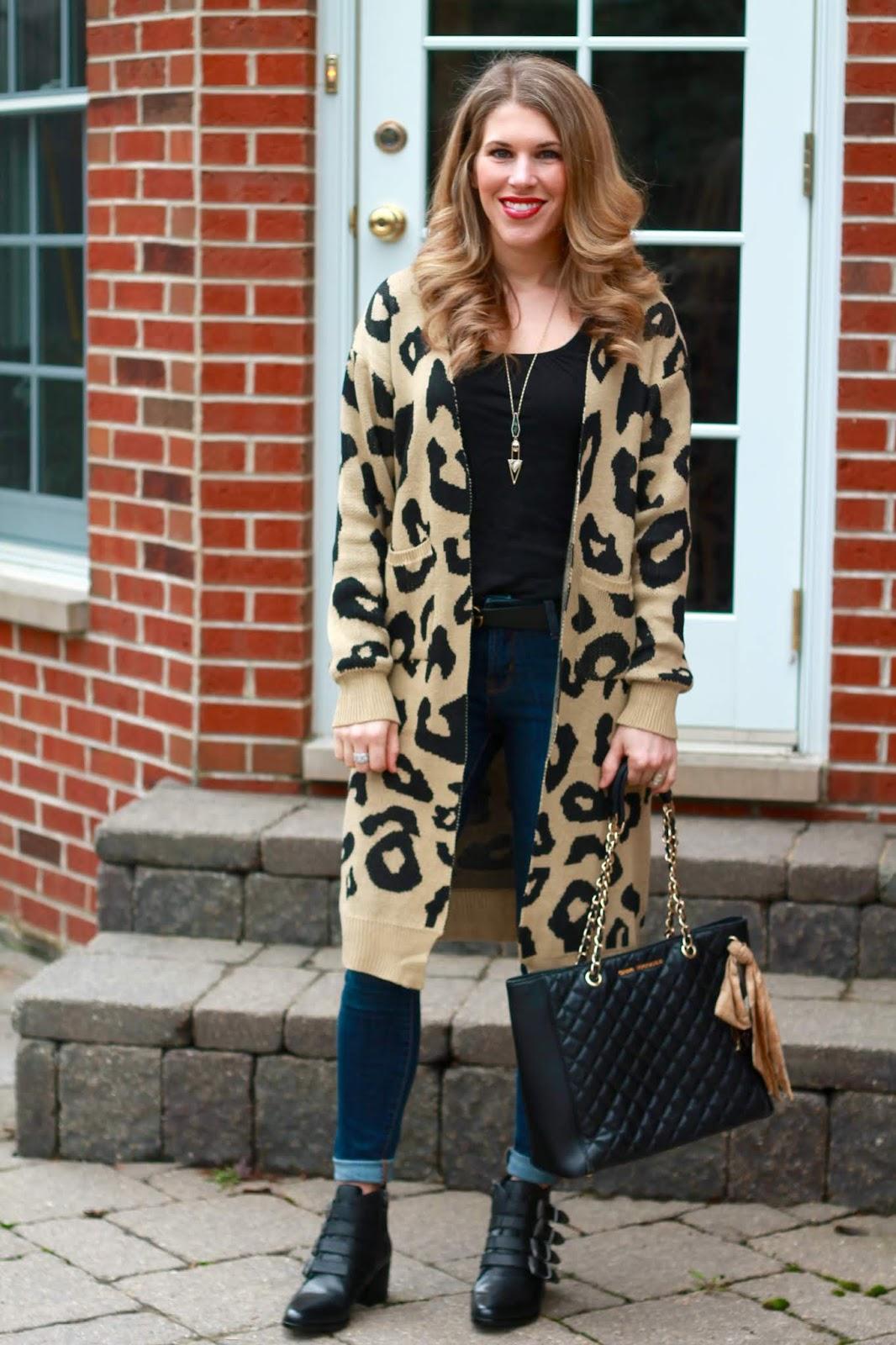 long leopard cardigan, black western booties, black tank, black quilted tote, skinny jeans
