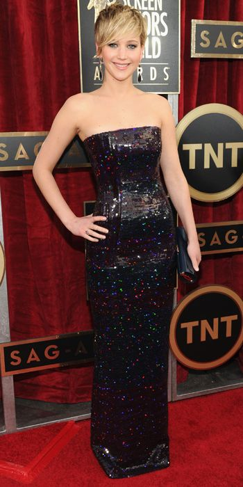 Jennifer Lawrence in a sparling black Dior gown at the SAG Awards 2014