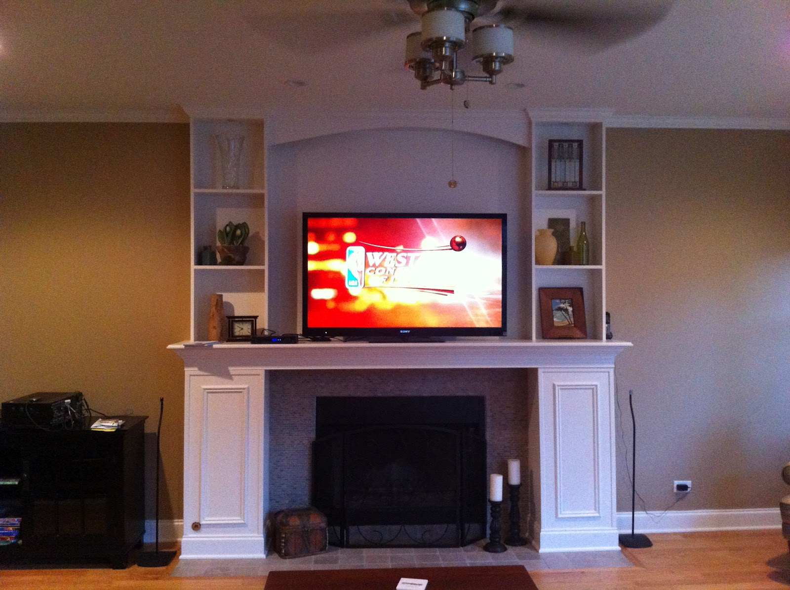 hight resolution of when we re done i ll have a 55 led tv mounted over the fireplace with high speed hdmi cabling running through the walls directly to the set for our