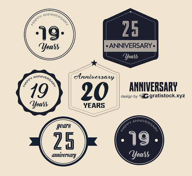 Free Download PSD Mockup Of Anniversary Badges Logos