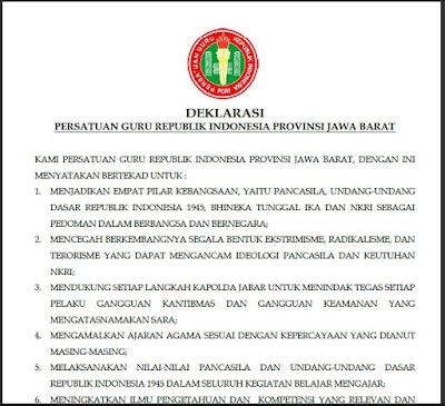 INILAH DEKLARASI PGRI JABAR, GURU MEMILIKI PERAN STRATEGIS MENANGKAL RADIKALISME Seo Sunda