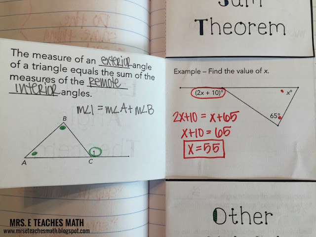 Angles in Triangles Interactive Student Notebook Page Idea