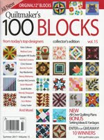 FIND BLUE RIBBON DESIGNS IN QUILTMAKER'S 100 BLOCKS, VOL 15 - MAY 2017
