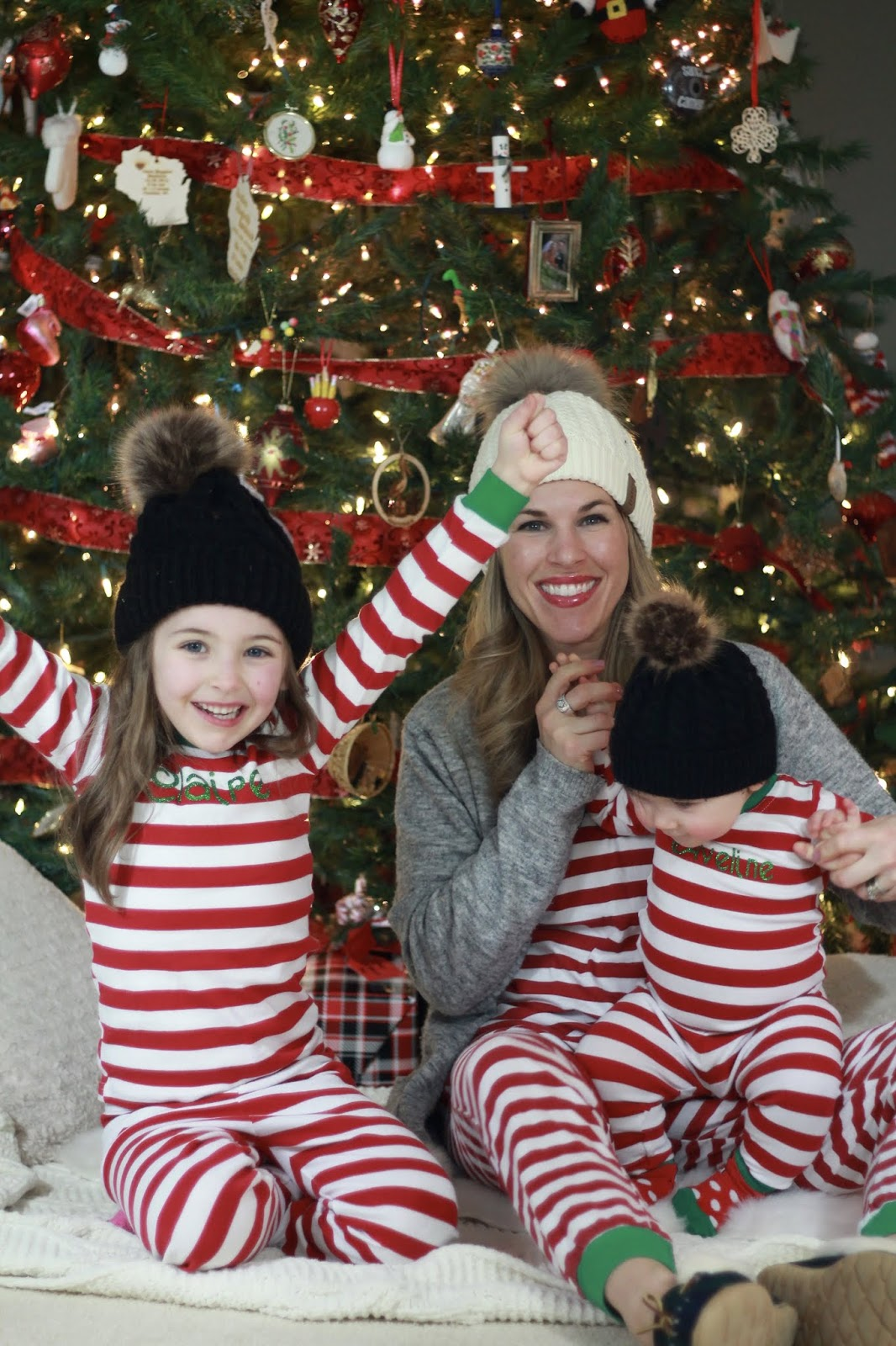 matching Christmas family pajamas, red stripe pajamas