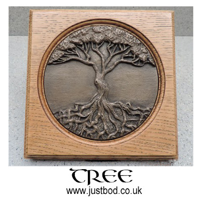 Tree of Life plaque in bronze and oak