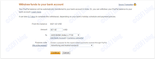 Withdrawing funds manually - PayPal India