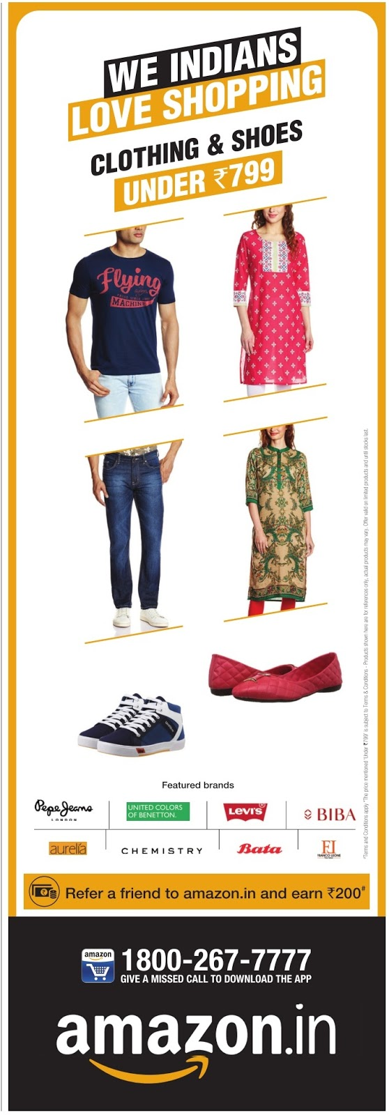 Clothing & Shoes under Rs 799  | April 2016 discount offer