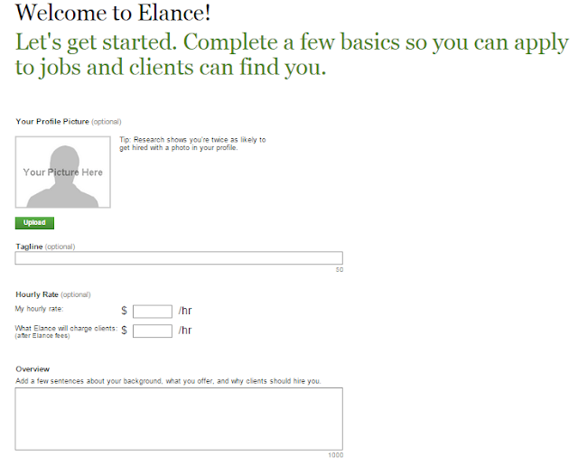 Creating profile in elance