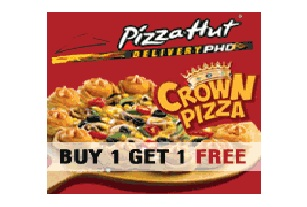 Buy 1 Crown Pizza Get another Crown Pizza Free at Pizzahut