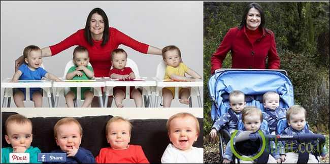 Emma Robbins dan bayi kembar 4 nya