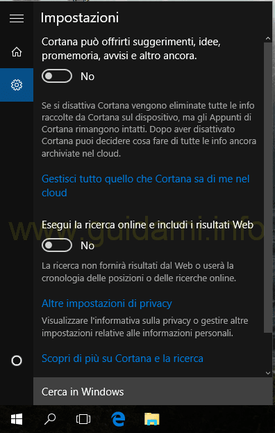 Cortana e Ricerca Windows 10