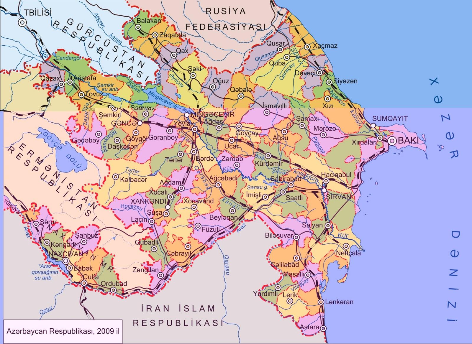 Azerbaijão | Mapas Geográficos do Azerbaijão