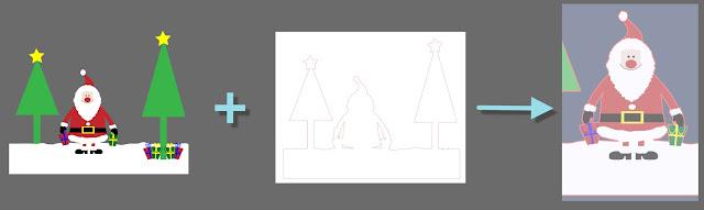 Schematische Darstellung: das Original mit Hilfe der Nachzeichnung ausschneiden