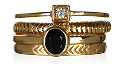 Black Onyx Stacking Rings Accessorize