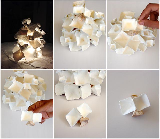 Anello di carta che va a comporre la lampada. Gioielli modulari Alessandra Fabre Repetto