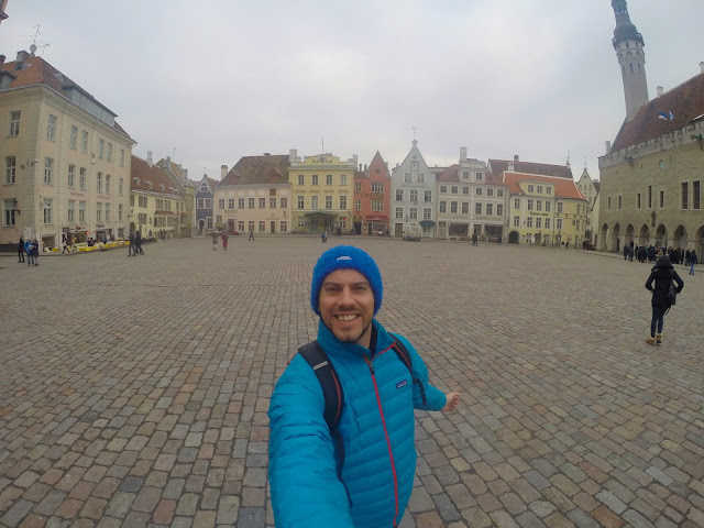 Standing in Tallinn's Old Town Hall Square