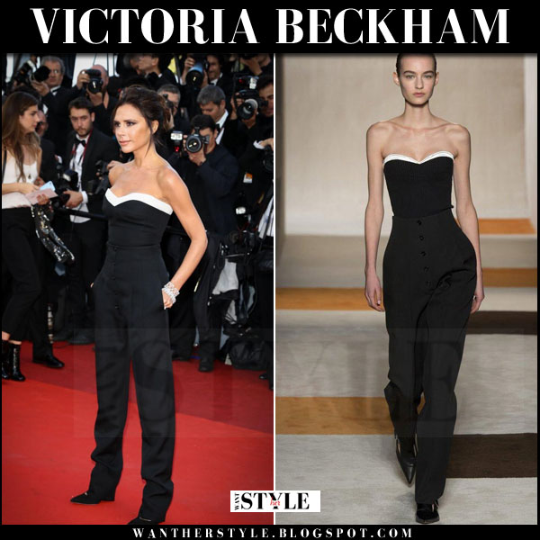 Victoria Beckham in black tuxedo bustier top and black pants what she wore red carpet cannes 2016