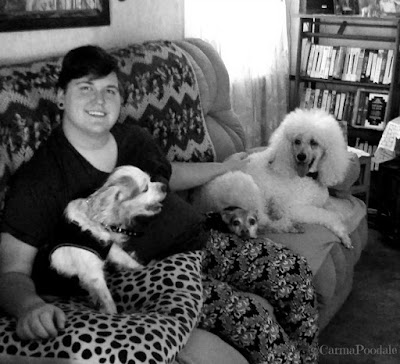 Sarah on the couch with Jenny, Scooby and Carma Poodale