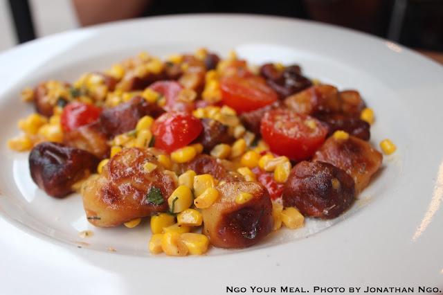 Gnocchi stagionale: corn, cherry tomato, basil & parmesan at Barbuto