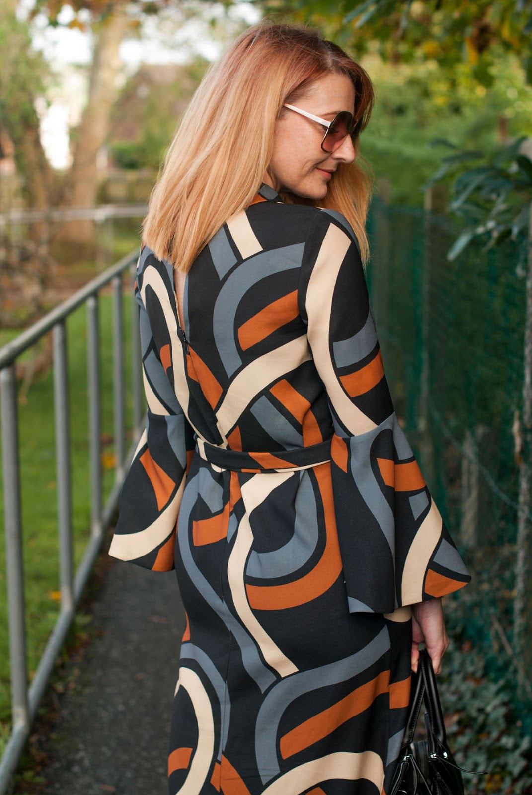 Elegant 70s style patterned midi dress in autumnal colours - bell sleeves, tie waist (Hobbs AW17) | Not Dressed As Lamb, over 40 style