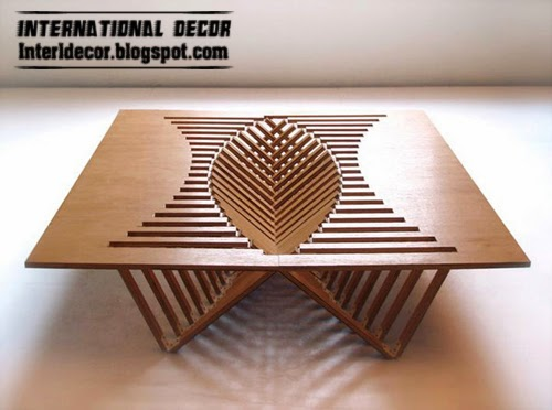 Folding decorative table Residents of small apartments, unusual table design
