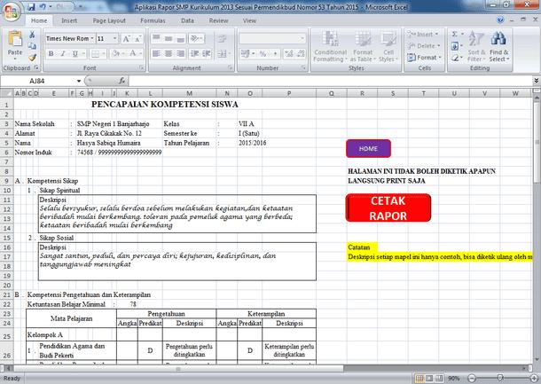 Aplikasi Raport SMP Kurikulum 2013 Sesuai Permendikbud Nomor 53 Tahun 2015
