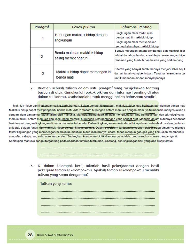 Manusia Dengan Lingkungan Alam Halaman 25-30 Kelas 5 Tema 6