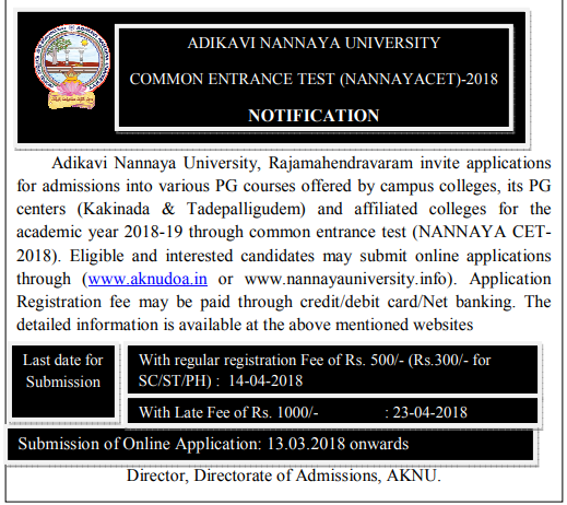 AKNUCET notification 2021-2022, Adikavi nannaya university pgcet